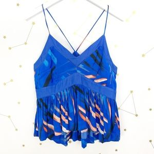 Free People • Blue Printed Babydoll Camisole Tank